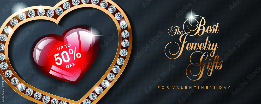 Fototapeta Luxury Valentines Day jewelry sale, special offer, discount, advertising campaign vector banner, flyer, poster, voucher, website header template with gold jewelry, diamonds and text on black
