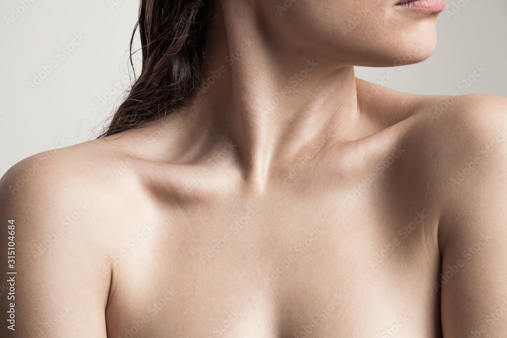 Fototapeta close up of woman neck and shoulders natural beauty skin