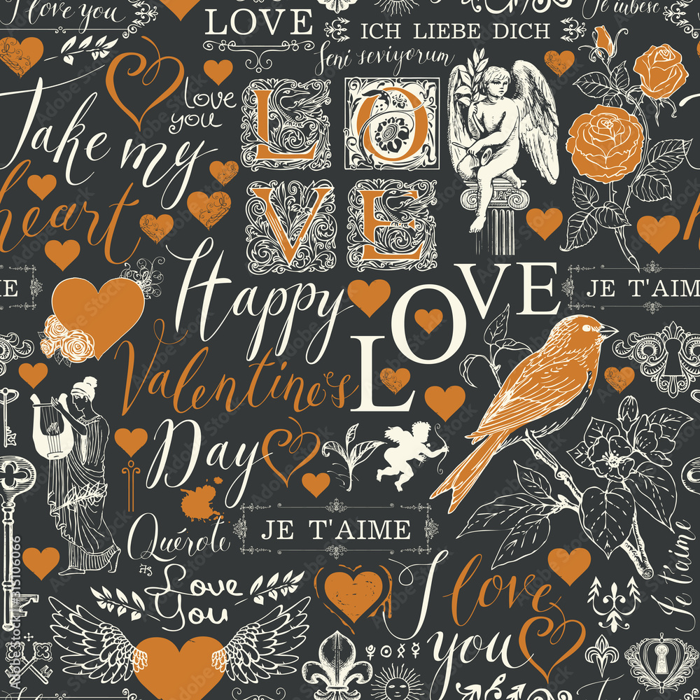 Fototapeta Vector seamless pattern with hearts, angels, flowers, birds and inscriptions on the theme of Valentines day. Abstract background in retro style with the words I love you in different languages.
