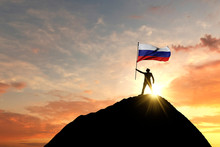 Russian Flag Being Waved At Th...