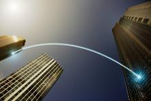 Fiber Optic Light Trail Communication Connecting Highrise Buildings, Concept