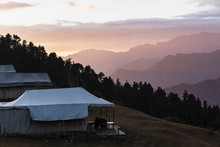 Yurts Overlooking Silhouetted ...