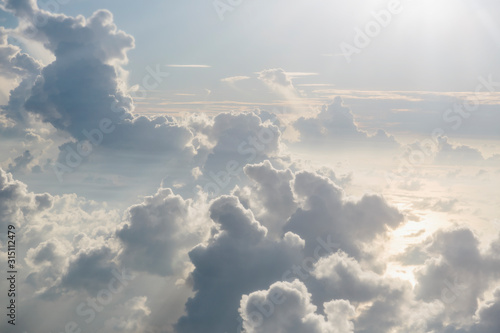 Aerial view sunny, tranquil clouds in sky - 315112479
