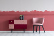 canvas print picture - Stylish small pastel pink chair next to trendy pink and burgundy commode