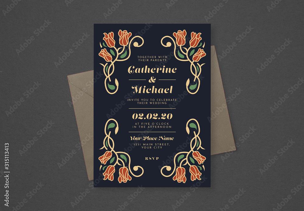 Fototapeta Floral Wedding Invitation Layout