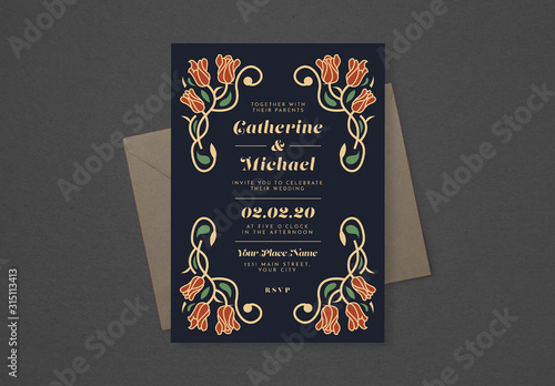 Obraz Floral Wedding Invitation Layout - fototapety do salonu
