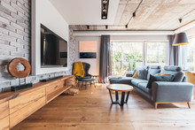Elegant Living Room With Light...
