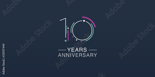 Fotomural 10 years anniversary vector icon, logo. Neon graphic number