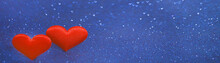 Two Red Hearts With Bokeh Ligh...