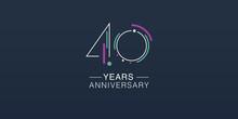 40 Years Anniversary Vector Ic...