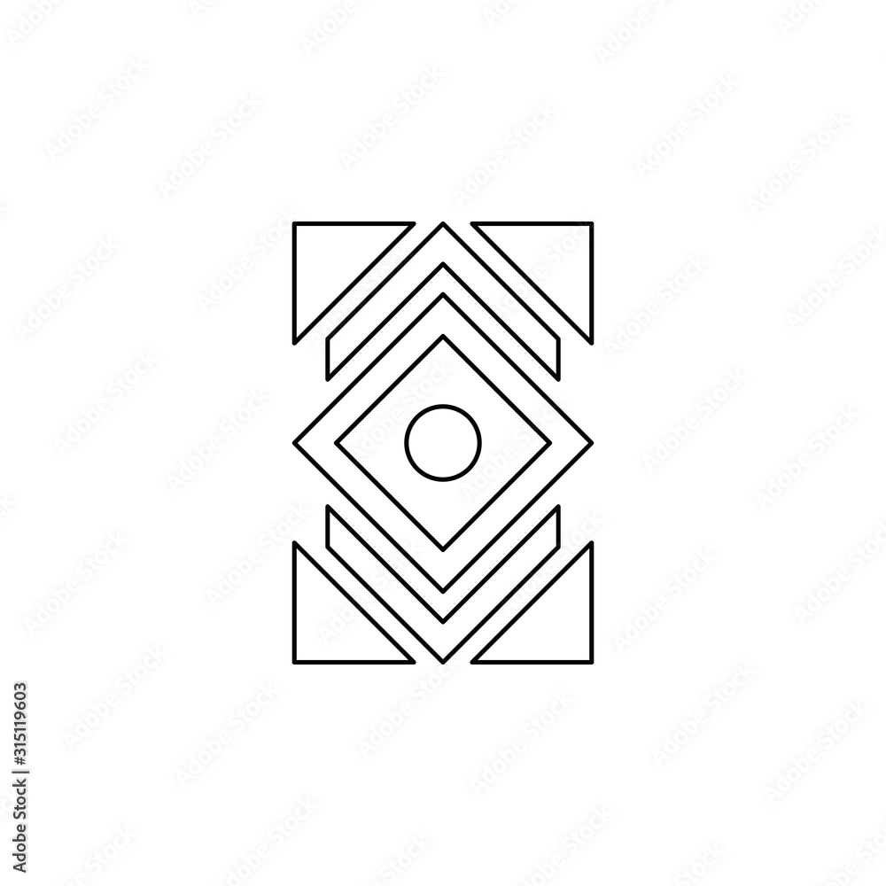 Abstract color icon. Simple thin line, outline vector of boho icons for ui and ux, website or mobile application