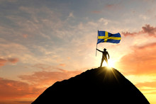 Sweden Flag Being Waved At The...