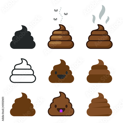 Bunch of brown shit icon set. vector image. Stinky Dog Poop logo symbol sign collection. Cartoon style poo. Vector illustration image. Isolated on white background.
