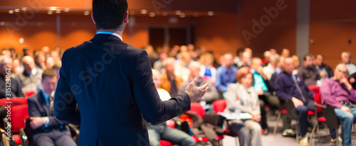 Speaker at Business Conference and Presentation. Canvas Print