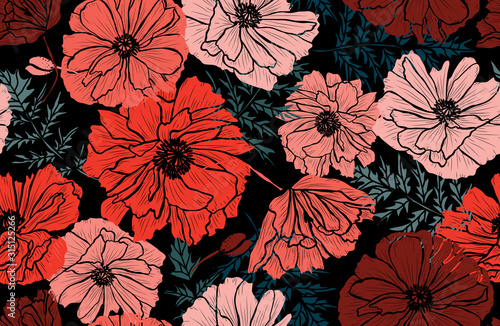 Obraz maki   floral-seamless-pattern