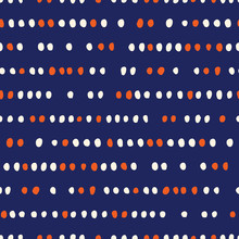 Retro Geo Dotted Stripes Vector Seamless Pattern. Ditsy Modern Abstract White And Orange Dots On Indigo Background