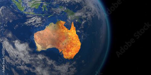 Obraz Australia wildfire crisis. Map of australia fires. 3D Rendering - fototapety do salonu
