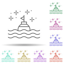 Diving Buoy In Multi Color Style Icon. Simple Thin Line, Outline Vector Of Diving Icons For Ui And Ux, Website Or Mobile Application