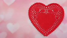 Red Heart Paper Doily Isolated...