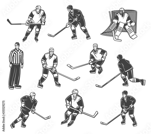 Photo  Ice hockey referee and players in motion, vector characters