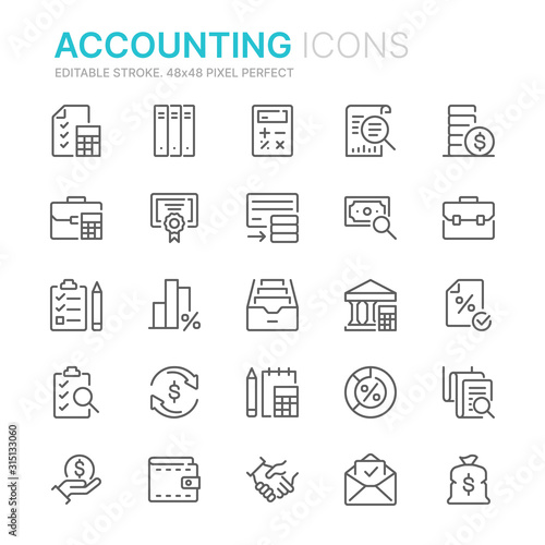 Collection of accounting related line icons Canvas Print