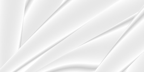 White and grey smooth stripes abstract geometric graphic design. Vector silk texture background