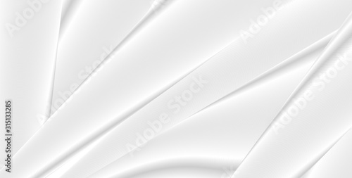White and grey smooth stripes abstract geometric graphic design. Vector silk texture background - 315133285