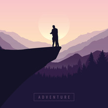 Couple On A Cliff Adventure In...