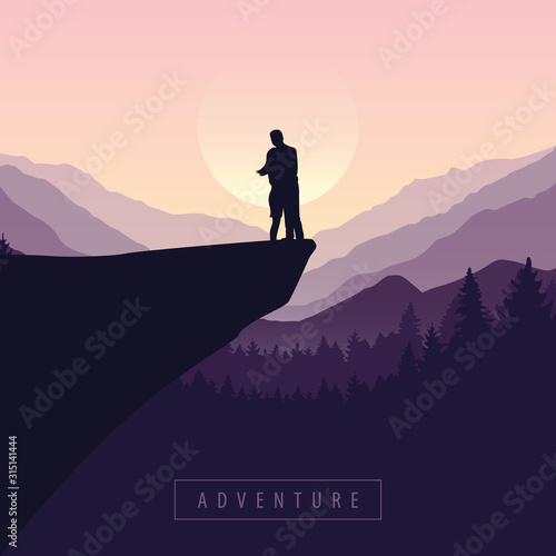 couple on a cliff adventure in nature with purple mountain view vector illustrat Wallpaper Mural