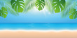 sunny summer day on the beach background with palm leaf vector illustration EPS10