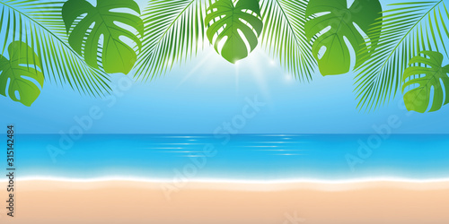 Stampa su Tela sunny summer day on the beach background with palm leaf vector illustration EPS1