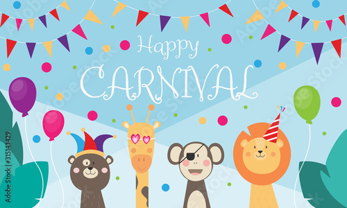 obraz dibond Happy Carnival - Banner mit wilden Tieren, die feiern und verkleidet sind, Dschungel