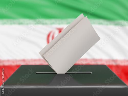 Valokuva  Ballot box with Iranian flag on background