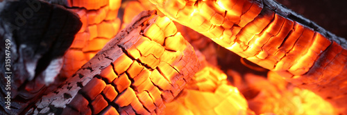 Photographie Close-up of burning log in bonfire