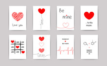 Valentine's Day Greeting Cards Set. Vector Thin One Line Design With Hearts Simple Flat Style. Hand Written Lettering Decorative Brush Strokes, Love Symbols For Gifts, Cards, Posters