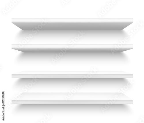 Fotografia Realistic plastic shelves, 3d metallic white shelf