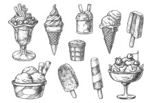 Set Of Isolated Ice Cream Sket...