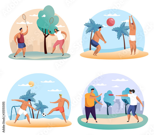 Man and woman playing badminton, frisbee, soccer Wallpaper Mural