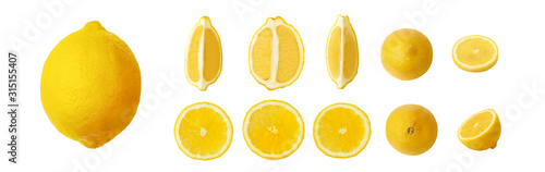 Fototapeta ripe lemon set isolated on white background obraz