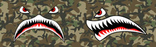 Flying Tiger Shark For T-shirt Design. Trendy Element For Silkscreen Clothing. Mouth Tiger Shark For Merch And Clothing. Trendy Mouth And Seamless Camouflage Pattern. Vector Illustration For Hood.