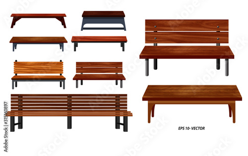 Fotografie, Obraz set of realistic bench wood garden or street bench seat or bench cartoon