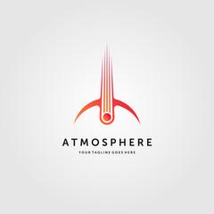 comet crashed atmosphere logo meteor impact vector emblem illustration design
