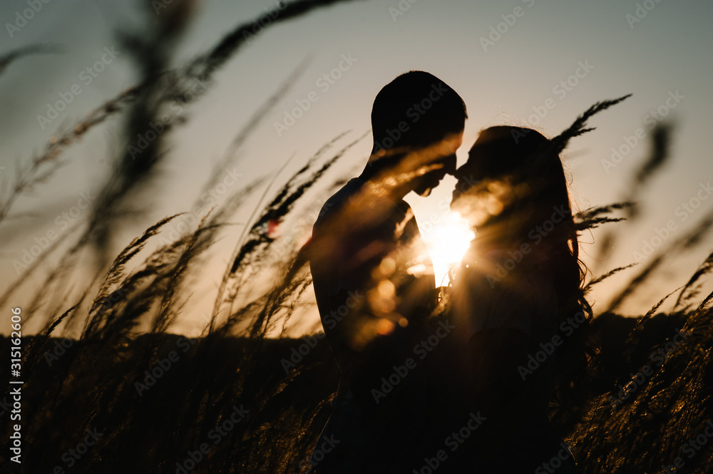 Fototapeta Young couple hugging and kissing, at sunset in autumn at an outdoor on park. at the field grass on the background of sun. Concept of friendly family. upper half. Close Up. Place for text and design.