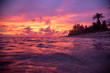 canvas print picture - Tropical pink and purple sunset over ocean
