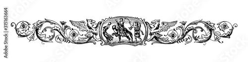 Vászonkép Illustration griffons, beasts, romans, togas, ornate decorative