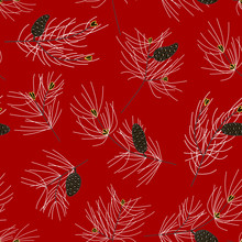 Seamless Pattern Of Fir Branches, Conifer And Cones.  Bright Red Background.