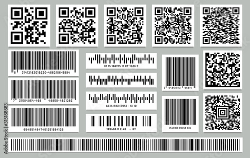 Cuadros en Lienzo Set of isolated rectangle barcode, square qr code