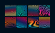 Set Of Abstract Optical Art Background. Colorful Gradient Wave Stripes Isolated. Vector Illustration