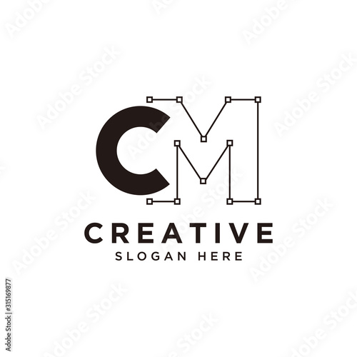 Initial CM logo design with curved line - vector Canvas Print