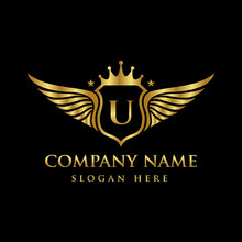 Luxury Royal Wing Letter U Crest Gold Color Logo Vector, Victory Logo, Crest Logo, Wing Logo, Vector Logo Template